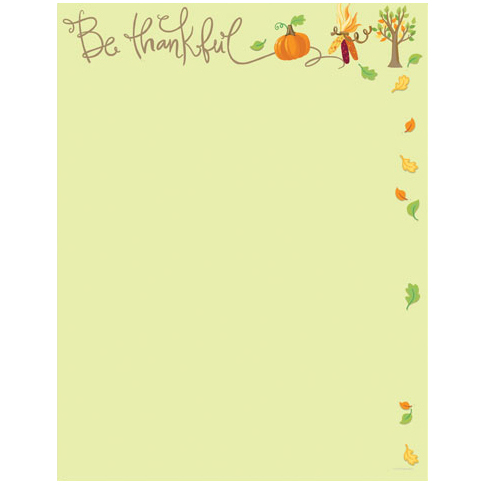 Be Thankful Computer Printer Border Paper