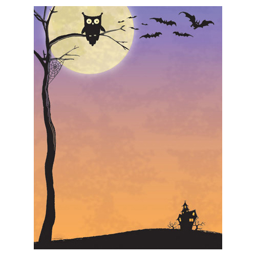 "Hoot ""Who"" Owl, Bats & Haunted House Halloween Paper"