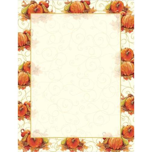Pumpkin Swirls Autumn and Thanksgiving Printer Paper