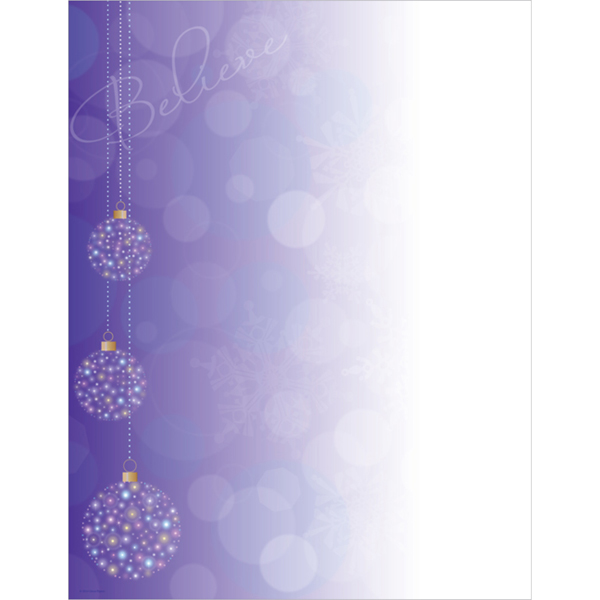 Believe Purple Christmas Ornaments Computer Printer Paper
