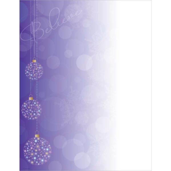 Believe Purple Christmas Ornaments Computer Printer Paper