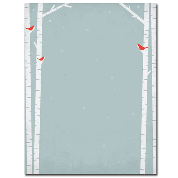 cardinals and birch tree silhouette christmas border