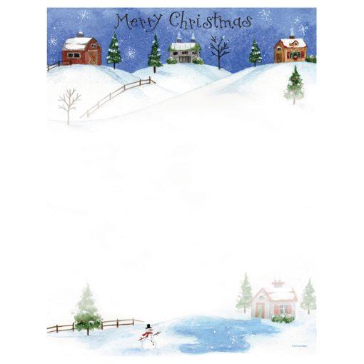 Folk Art Christmas Village Holiday Comptuer Printer Paper