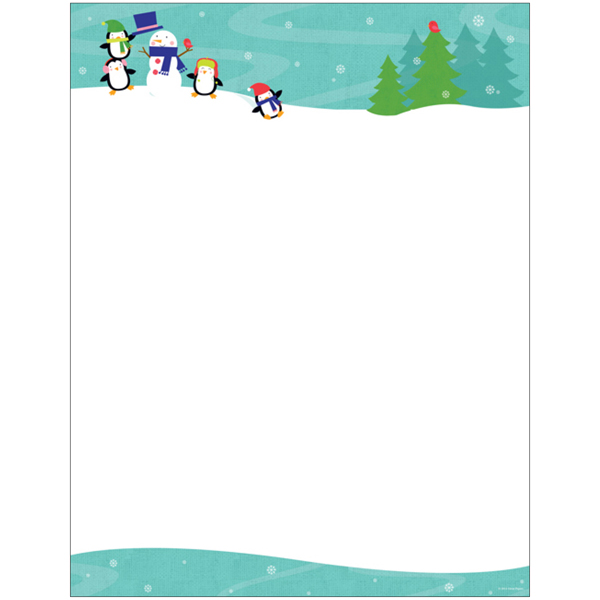 Penguins Playing in the Snow Christmas Computer Printer Paper