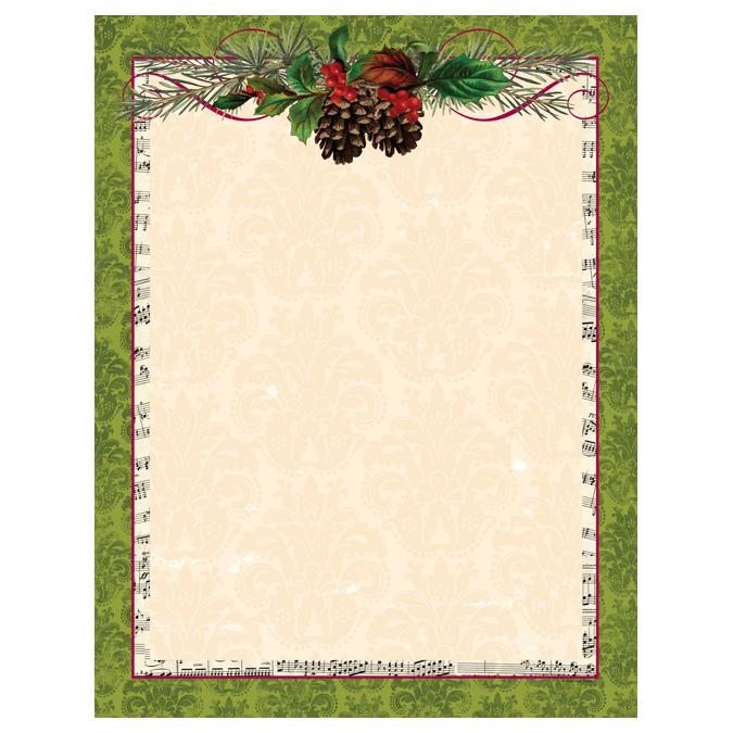 Pinecone garland green christmas border holiday paper