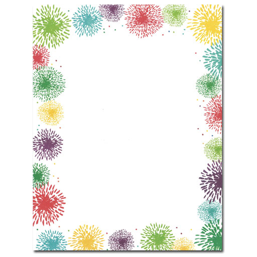 Colorful Fireworks Patriotic Border Paper Your Paper Stop