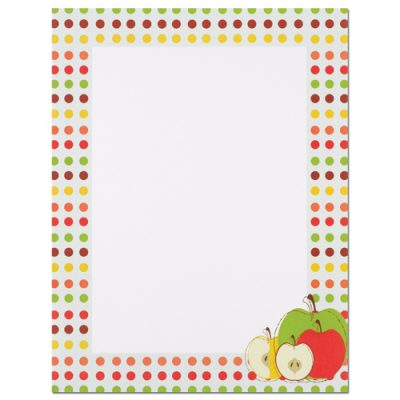 Apples and Dots Border Printer Paper
