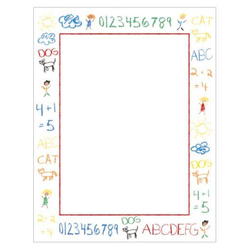 Kids Crayon Doodle Border Paper