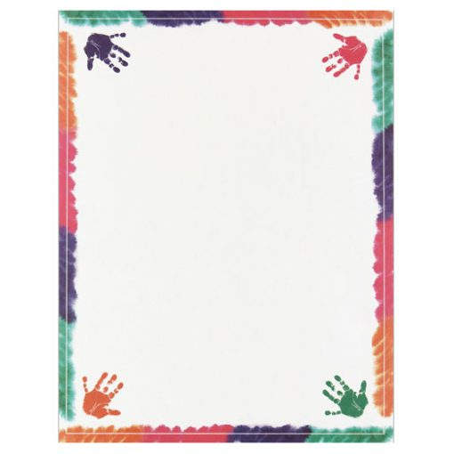 Colorful Hands On Border Paper