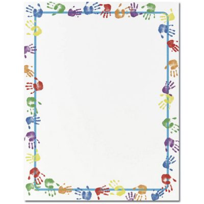 Little Colorful Handprints Border Paper