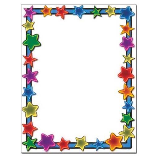 Neon Stars Border Paper