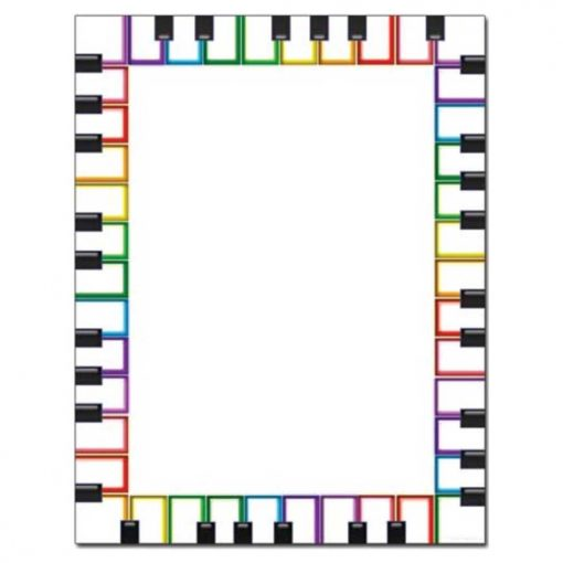 Colorful Rainbow Piano Keys Letterhead Paper