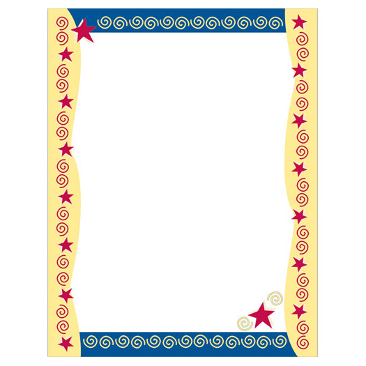 Red Stars & Swirls Border Paper
