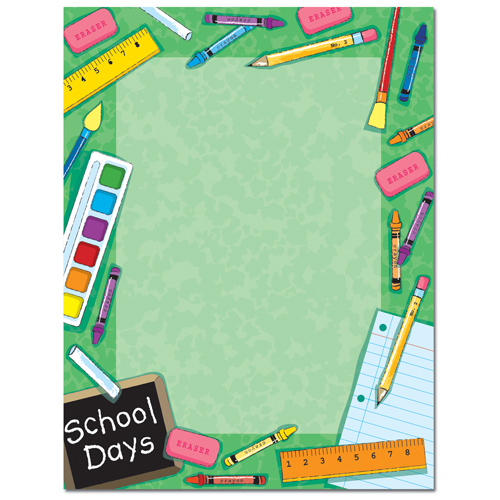 School Days Green Border Paper