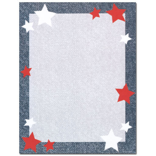 Red & White Stars on Denim Blue Paper