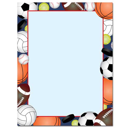 team sports balls border paper your paper stop rh yourpaperstop com All Sports Clip Art All Sports Clip Art