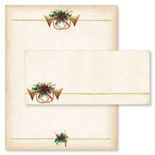 Antique Horns Christmas Computer Printer Paper & Envelopes