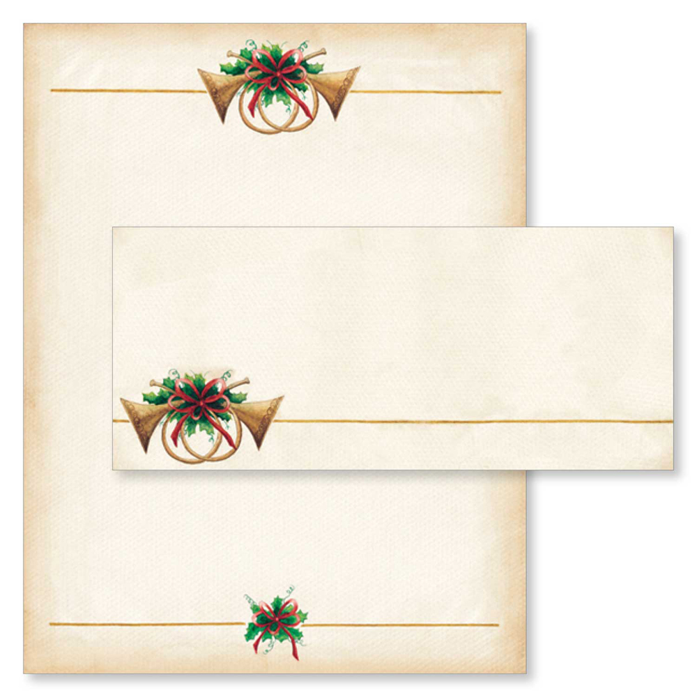 Antique Horns Christmas Computer Printer Paper & Envelopes