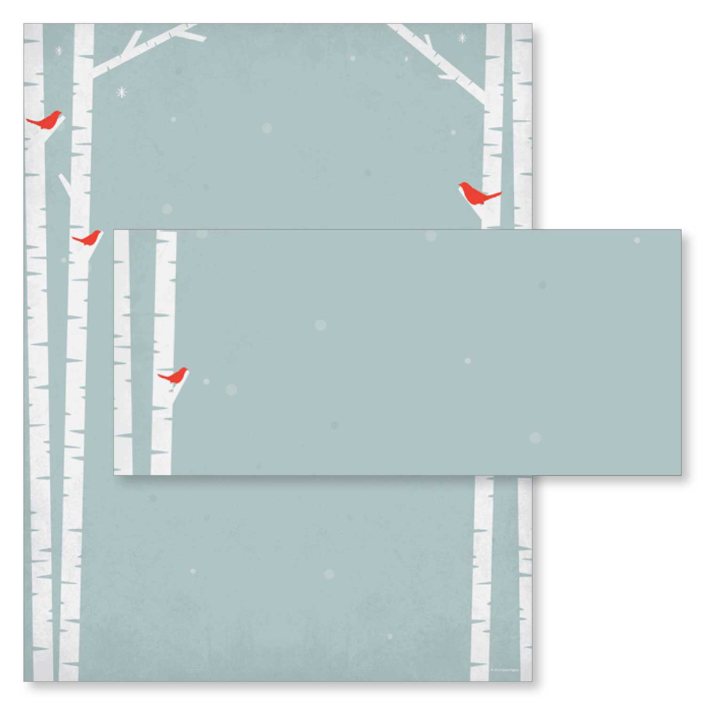 Cardinals and Birch Tree Silhouette Christmas Computer Printer Paper & Envelopes