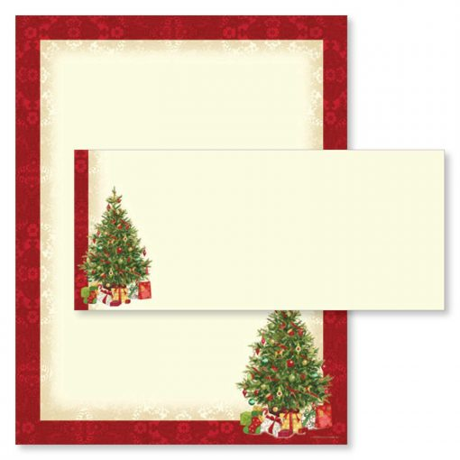 Lacy Christmas Tree Holiday Paper & Envelopes