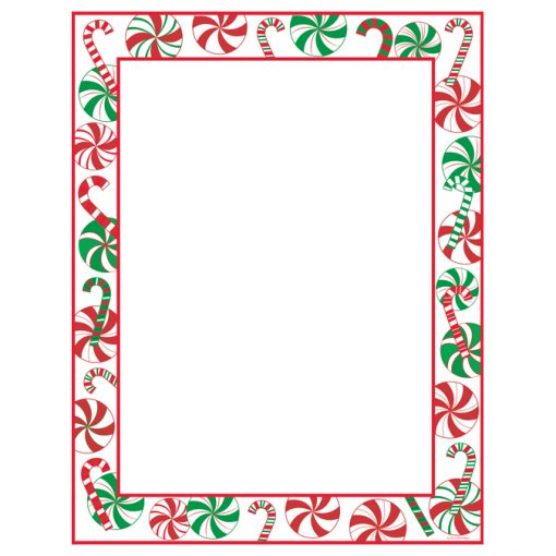 Peppermint Party Christmas Border Holiday Paper