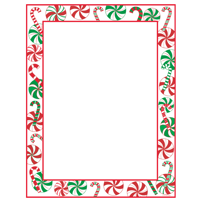 Peppermint Party Christmas Border Holiday Paper Your