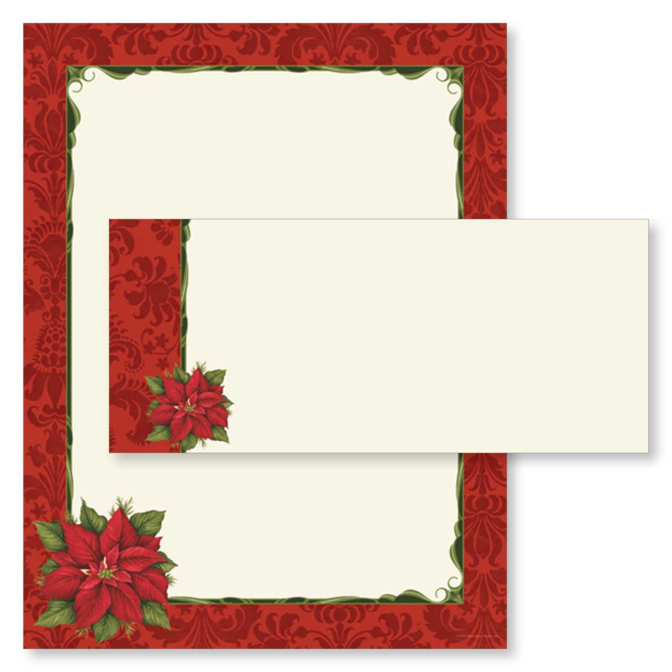 Pretty Poinsettia and Damask Christmas Paper & Envelopes