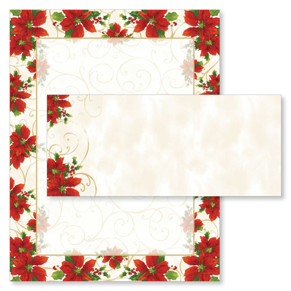 Poinsettia Swirl Christmas Computer Printer Paper & Envelopes