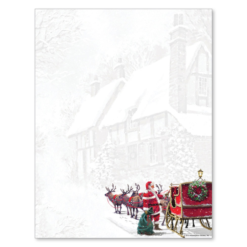 Santa's Sleigh Christmas Holiday Printer Paper