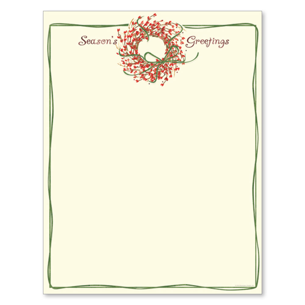 Season's Greetings Christmas Wreath Holiday Printer Paper