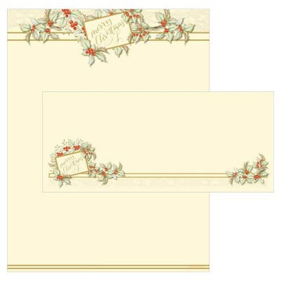 Vintage Holly Holiday Christmas Paper Set